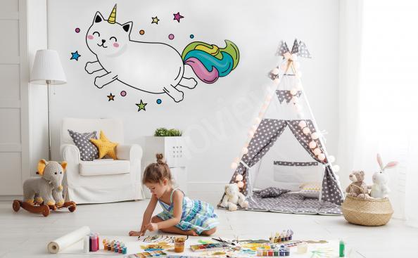 Sticker chat déguisé en licorne