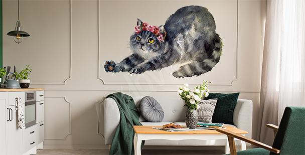 Sticker chat et fleurs