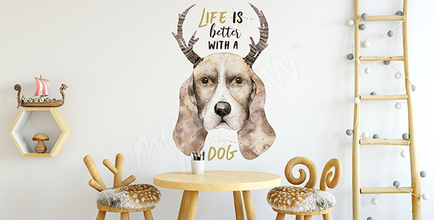 Sticker chien style scandinave