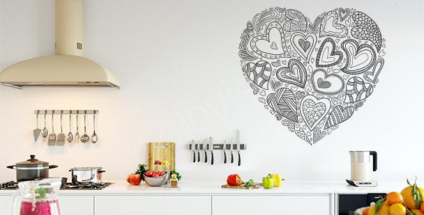 Sticker cœurs en noir et blanc