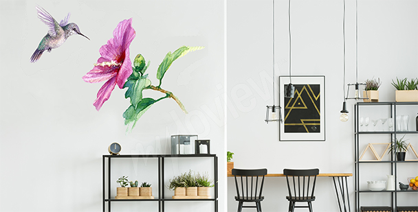 Sticker colibri aquarelle