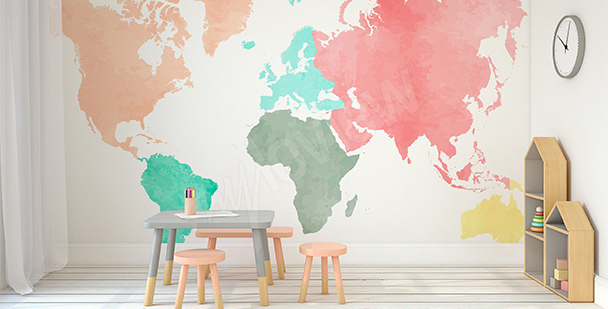 Sticker continents pastel