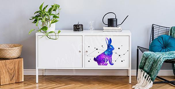 Sticker cosmique avec un lapin