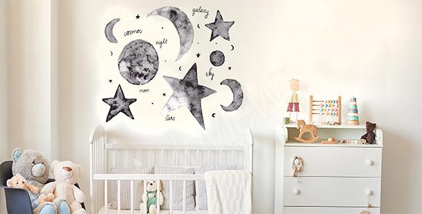 Sticker étoiles et lune