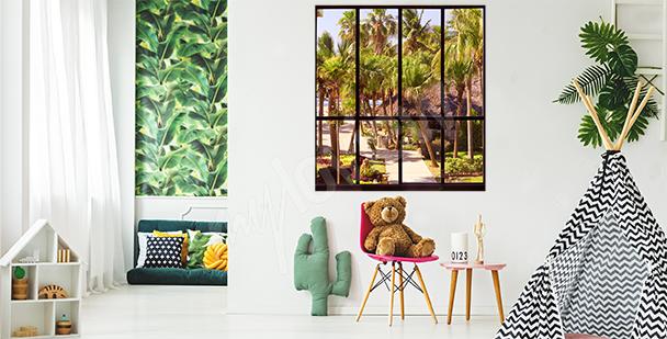 Sticker fenêtre avec paysage tropical