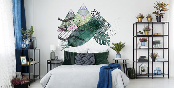 Sticker feuilles et triangles
