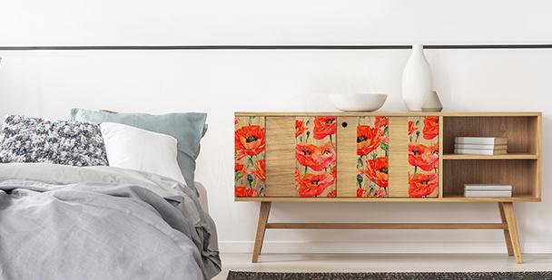Sticker fleur pour armoire