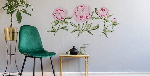 Sticker fleurs roses