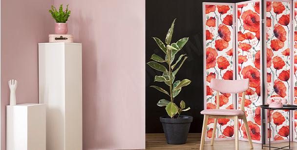Sticker fleurs rouges pour salon