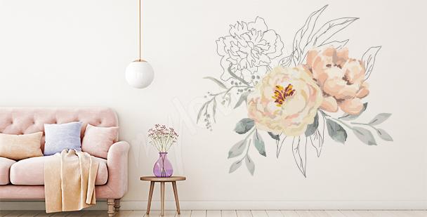 Sticker floral et éléments graphiques