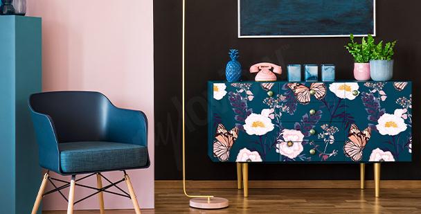 Sticker floral pour armoire