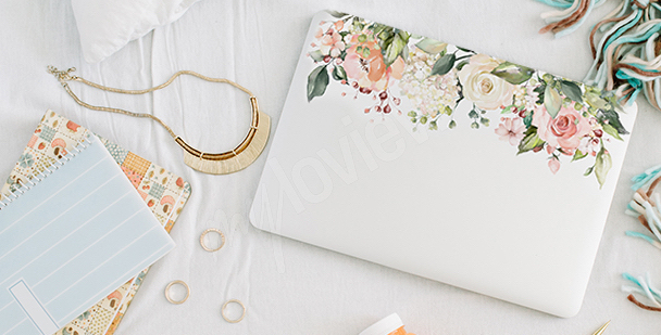 Sticker floral pour laptop