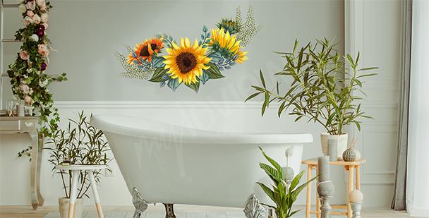 Sticker floral pour salle de bains