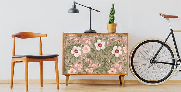 Sticker floral pour une étagère