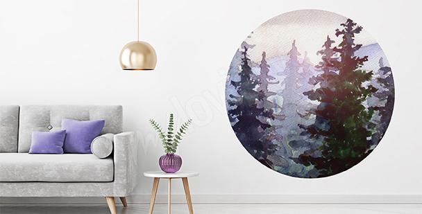 Sticker forêt aquarelle