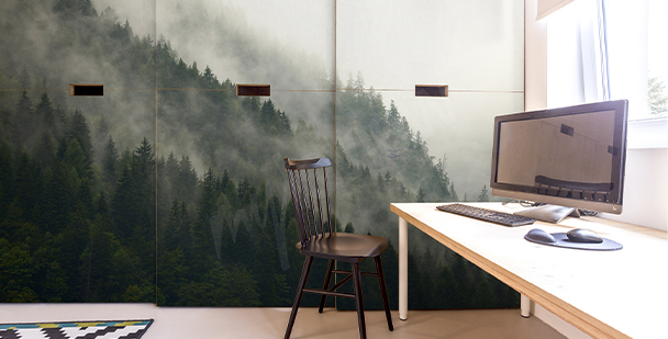 Sticker forêt dans la brume