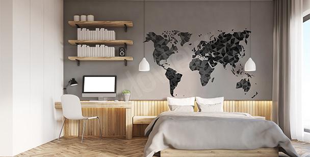 Sticker géométrique carte du monde