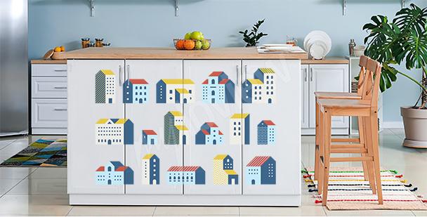 Sticker géométrique maisons colorées