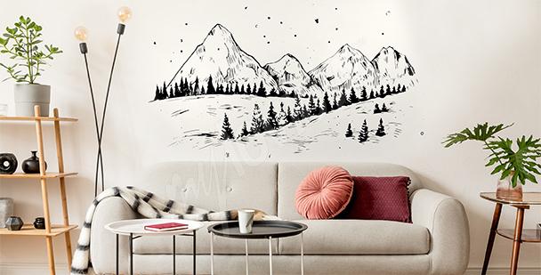 Sticker hiver et montagnes