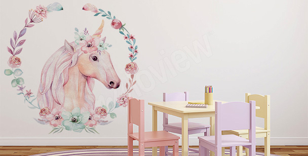 Sticker licorne et fleurs