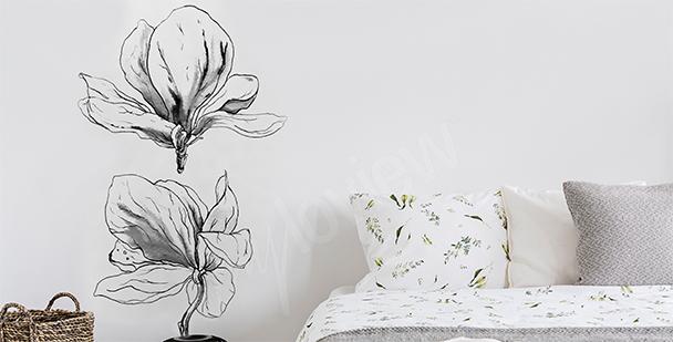 Sticker magnolia en noir et blanc