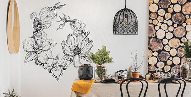 Sticker magnolias pour salle à manger
