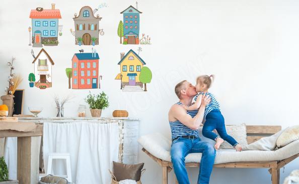 Sticker maisons colorées