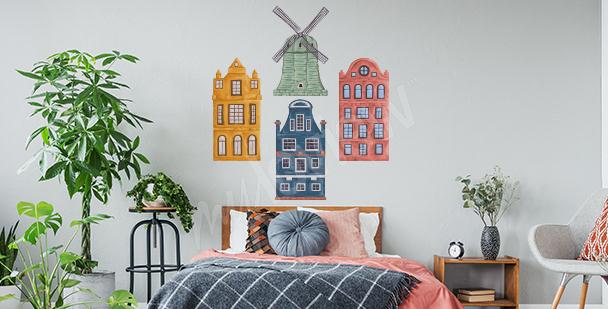 Sticker maisons colorées à la chambre