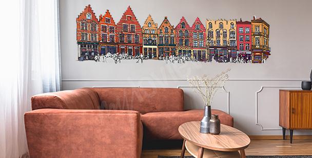 Sticker maisons colorées de Belgique