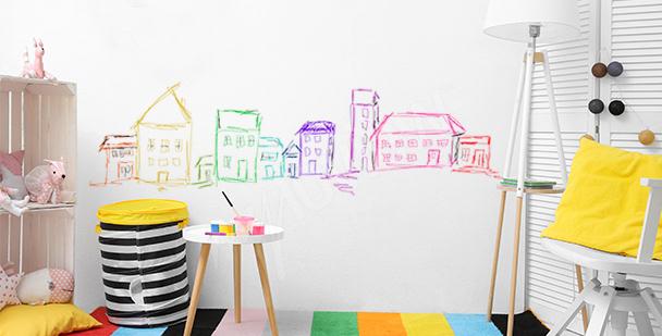 Sticker maisons colorées peintes