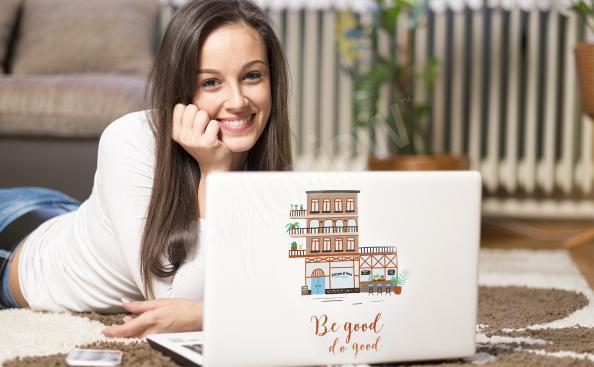 Sticker maisons colorées pour ordinateur portable