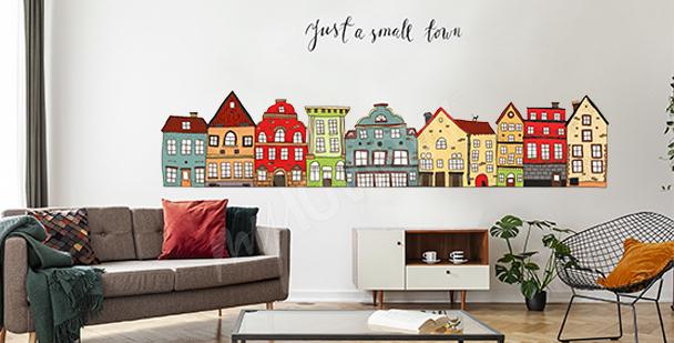 Sticker maisons colorées pour salon