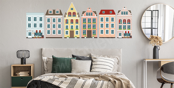 Sticker maisons européennes colorées