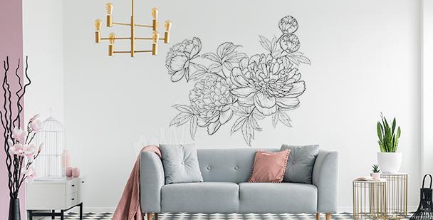 Sticker minimaliste avec des fleurs