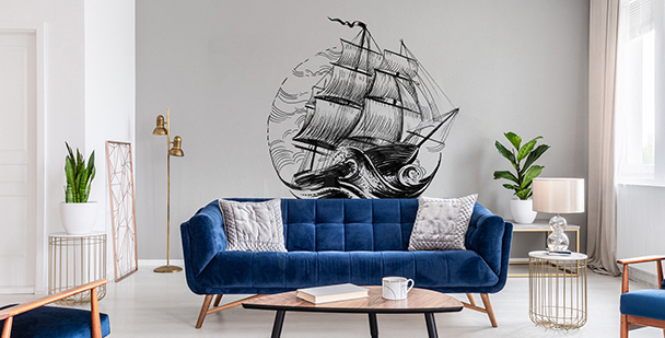 Sticker monochrome bateau