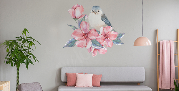 Sticker oiseau et fleurs
