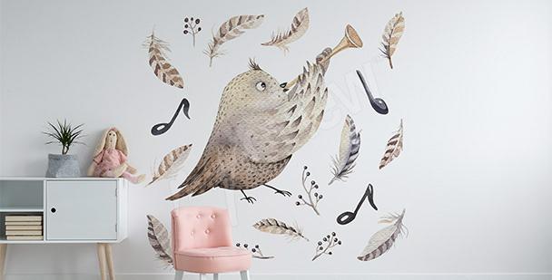 Sticker oiseau-musicien