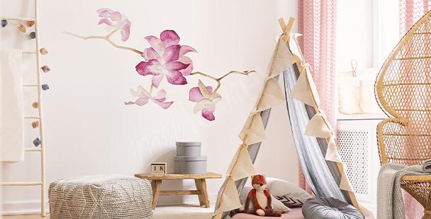 Sticker orchidée Aquarelle