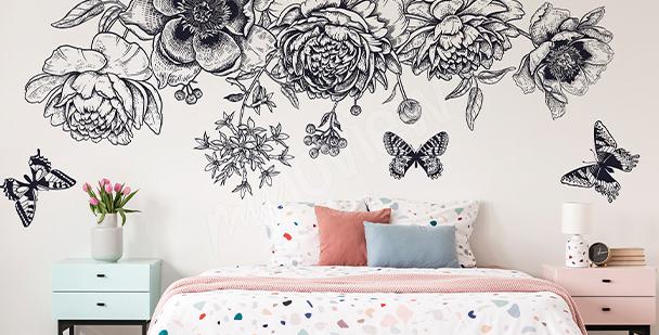 Sticker papillons noir et blanc