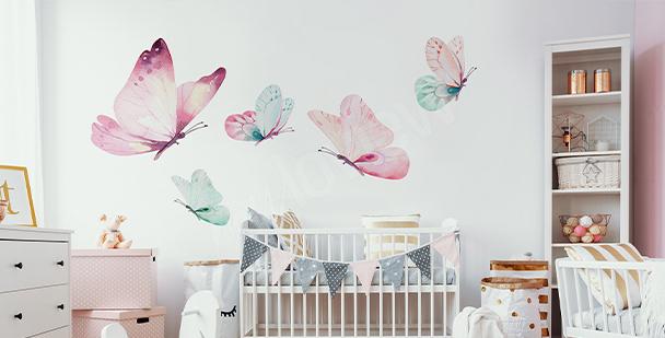 Sticker papillons pastel