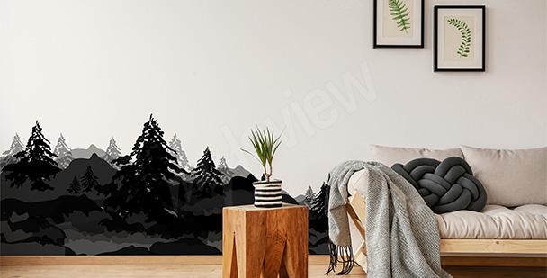 Sticker paysage bois