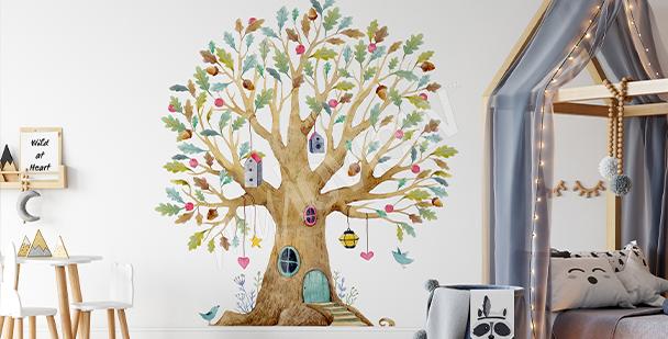 Sticker petit arbre coloré