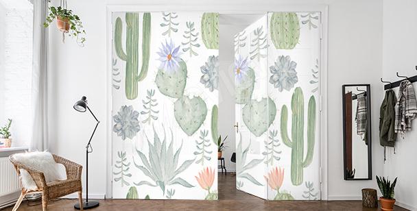 Sticker porte avec des cactus