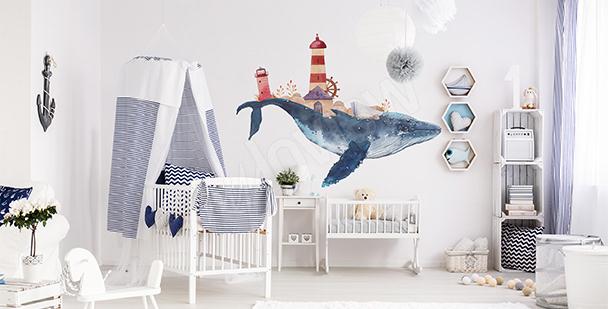 Sticker pour chambre de garçon baleine