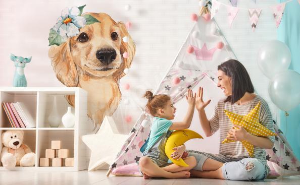 Sticker pour chambre d'enfant chien charmant