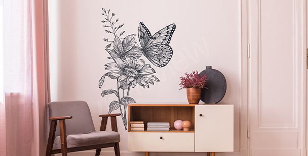 Sticker papillons gris