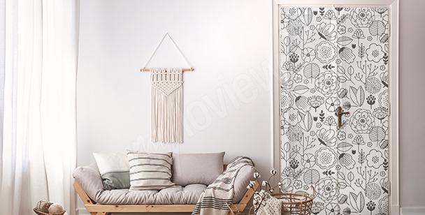 Sticker pour porte avec un motif floral