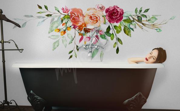 Sticker pour salle de bains avec des roses