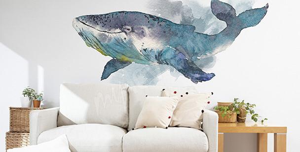 Sticker pour salon avec une baleine