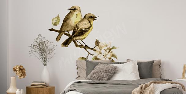 Sticker printemps avec des oiseaux